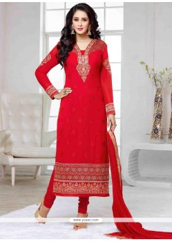 Surpassing Red Churidar Designer Suit