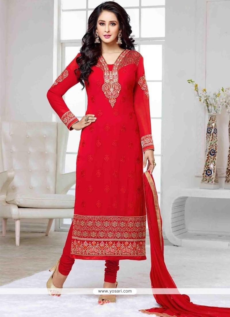 Surpassing Red Churidar Designer Suit