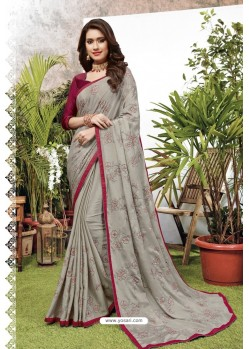 Grey Satin Georgette Party Wear Designer Saree
