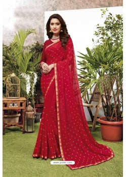 Stylish Red Satin Georgette Party Wear Designer Saree