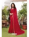 Stylish Red Satin Georgette Party Wear Designer Saree