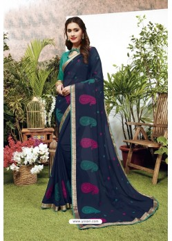 Navy Blue Satin Georgette Party Wear Designer Saree