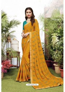Gorgeous Yellow Satin Georgette Party Wear Designer Saree