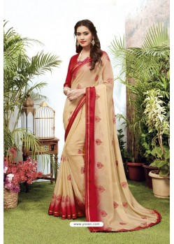 Cream Satin Georgette Party Wear Designer Saree