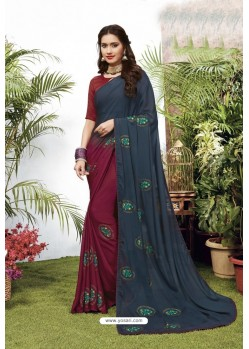 Multi Colour Satin Georgette Party Wear Designer Saree