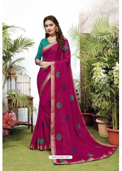 Rani Satin Georgette Party Wear Designer Saree