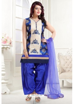 Royal Blue Banglori Silk Patiala Salwar Suit