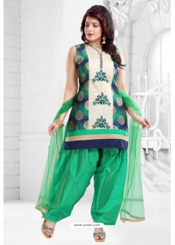 Jade Green Banglori Silk Patiala Salwar Suit
