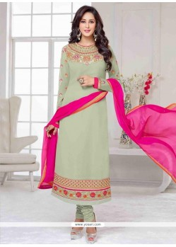 Fantastic Resham Work Sea Green Georgette Churidar Salwar Kameez
