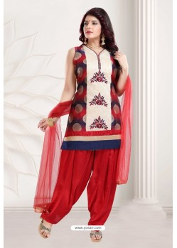 Red Banglori Silk Patiala Salwar Suit