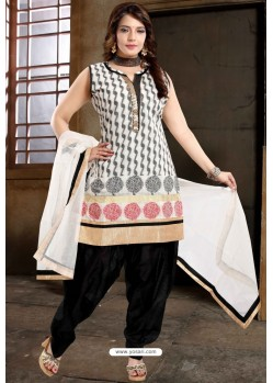 Black Banglori Silk Patiala Salwar Suit