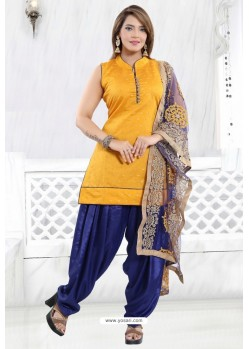 Yellow And Blue Chanderi Silk Patiala Salwar Suit
