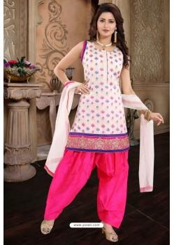 Rani And Off White Brocade Silk Patiala Salwar Suit