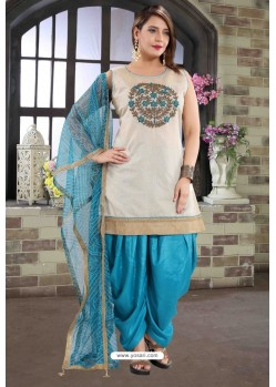 Blue And Off White Chanderi Silk Patiala Salwar Suit