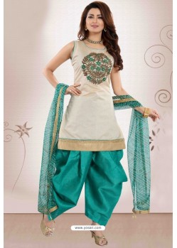 Teal And Off White Chanderi Silk Patiala Salwar Suit