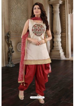Maroon And Off White Chanderi Silk Patiala Salwar Suit