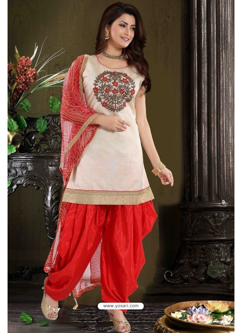 Red And Off White Chanderi Silk Patiala Salwar Suit
