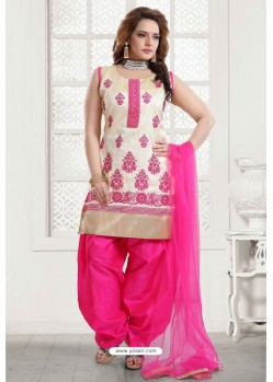 Fuchsia And Off White Malbari Silk Patiala Salwar Suit
