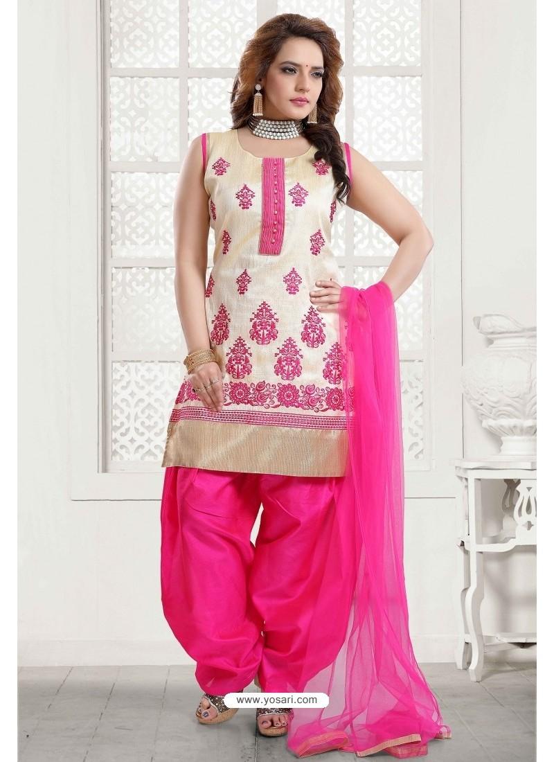 Fuchsia And Off White Malbari Silk Patiala Salwar Suit