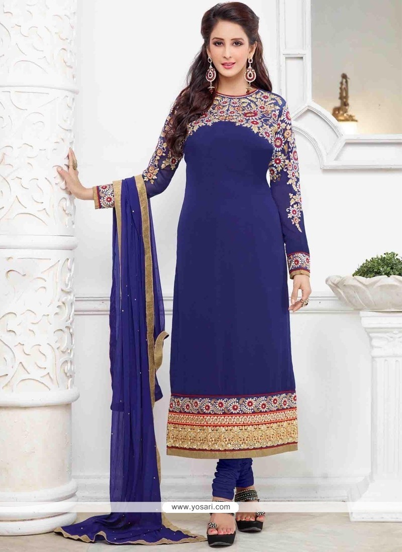Dainty Embroidered Work Blue Churidar Designer Suit