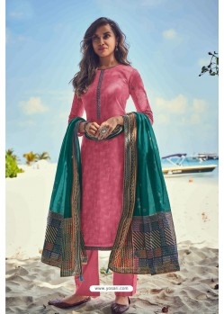 Hot Pink Pure Jam Cotton Print Palazzo Suit