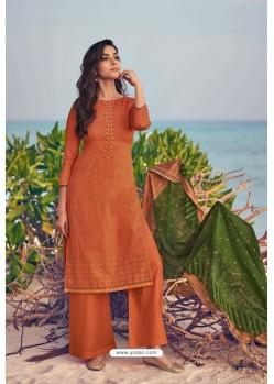 Orange Pure Jam Cotton Print Palazzo Suit