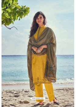 Latest Yellow Pure Jam Cotton Print Palazzo Suit