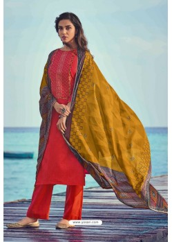 Red Pure Jam Cotton Print Palazzo Suit