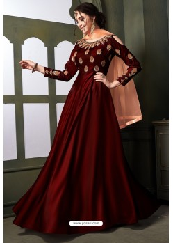 Maroon Heavy Tapeta Satin Silk Anarkali Suit