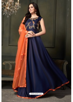 Navy Blue Heavy Tapeta Satin Silk Anarkali Suit