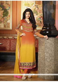 Gold And Orange Shaded Georgette Churidar Suit