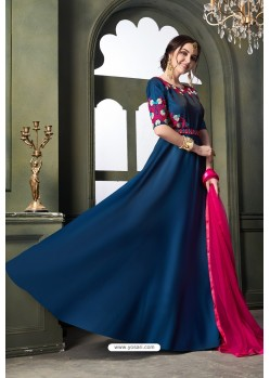 Teal Blue Heavy Tapeta Satin Silk Anarkali Suit