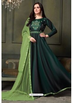 Dark Green Heavy Tapeta Satin Silk Anarkali Suit