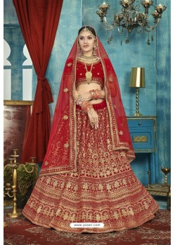 Lovely Red Velvet Designer Lehenga Choli