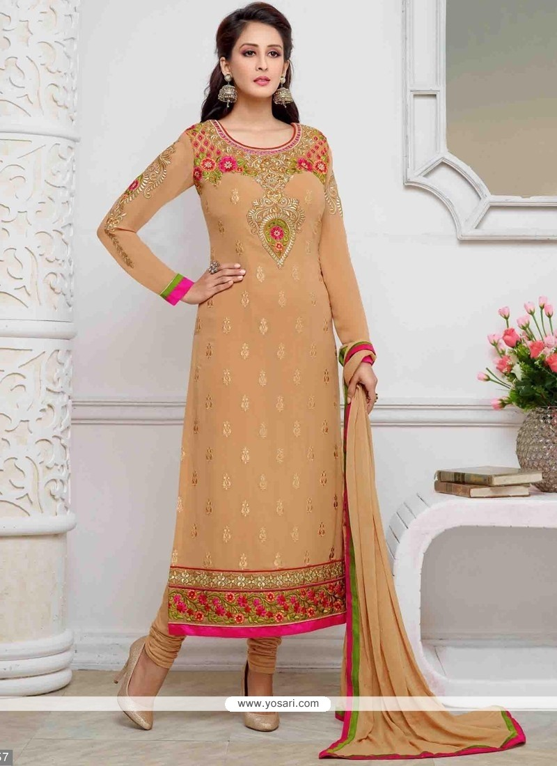Modest Beige Embroidered Work Georgette Churidar Designer Suit