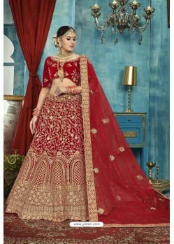 Beautiful Red Velvet Designer Lehenga Choli