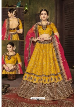 Yellow Satin Silk Designer Lehenga Choli