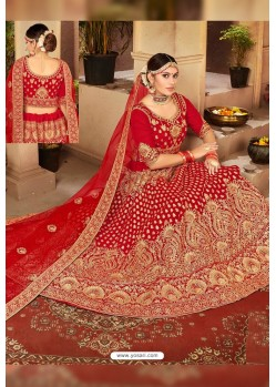 Charming Red Velvet Designer Lehenga Choli
