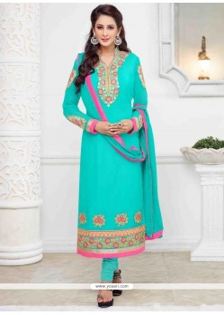 Modest Lace Work Georgette Churidar Salwar Kameez