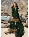 Dark Green Faux Georgette Designer Sharara Suit
