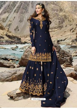 Navy Blue Faux Georgette Designer Sharara Suit