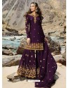 Purple Faux Georgette Designer Sharara Suit