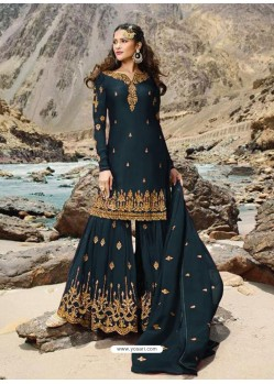 Teal Blue Faux Georgette Designer Sharara Suit