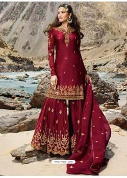 Maroon Faux Georgette Designer Sharara Suit