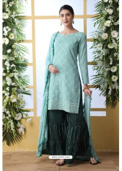 Sky Blue And Green Soft Cotton Embroidered Sharara Suit