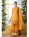 Yellow Soft Cotton Sequence Embroidered Sharara Suit