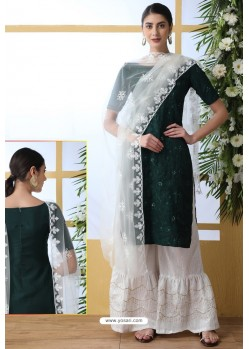 Dark Green And White Soft Cotton Embroidered Sharara Suit