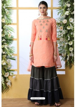 Peach Soft Cotton Sequence Embroidered Sharara Suit