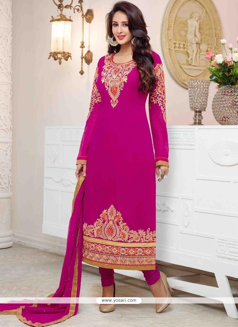 Savory Georgette Hot Pink Resham Work Churidar Salwar Suit