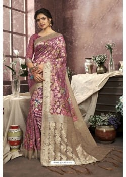 Light Pink Cotton Digital Printed Party Wear Saree